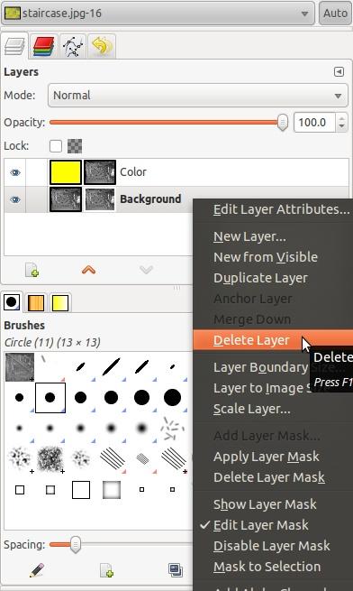 how to delete a layer insai
